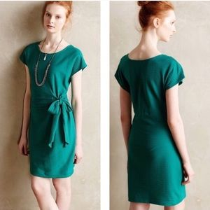 Anthro Saturday Sunday Textured Belted Green Dress